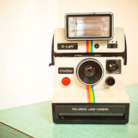 Vintage Polaroid One Step Plus Land Camera with Q-Light - White with Rainbow Stripe