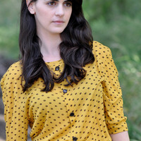 MOD - yellow top with polka dots print and buttons.Retro inspired blouse. yellow top.mustard top.