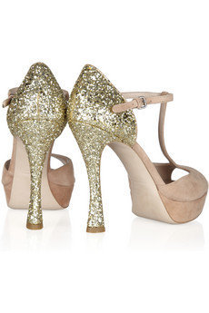 Miu Miu|Glitter-finished suede Mary Jane sandals|NET-A-PORTER.COM