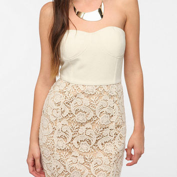 Pins and Needles Strapless Lace Twofer Dress