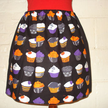 OOAK Goth / Punk Cupcakes Plus Size Skirt - High Waisted Ladies Mini Skirt - Rockabilly Pin Up - Handmade Ready to ship