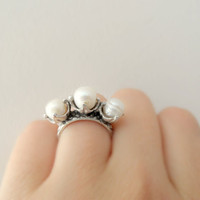 wedding ring, bridal ring, ring, handmade jewelry, pearl ring, jewelry