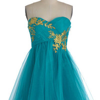 Garden Cotillion Dress in Teal | Mod Retro Vintage Dresses | ModCloth.com