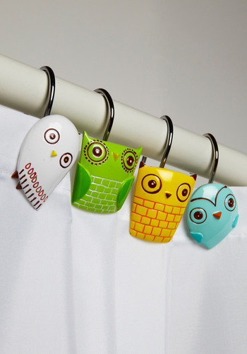 Owl Clean Shower Curtain Rings | Mod Retro Vintage Bath | ModCloth.com