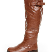 Bamboo Montage 01N Chestnut Knee-High Riding Boots - $46.00