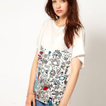 People Tree Organic Cotton 'Alicia Doodle' Oversize T-Shirt at asos.com