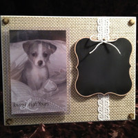 "Chalkboard Frame - 8x10"" Horizontal Base with 4x6"" Vertical Photo - Wall Decor or Display on Stand - READY TO SHIP"