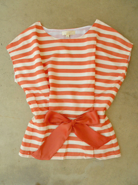 Central Stripe Blouse in Orange [3213] - $34.00 : Vintage Inspired Clothing & Affordable Summer Dresses, deloom | Modern. Vintage. Crafted.