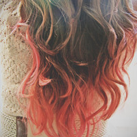 C O R A L I N A  coral pink colored human hair extension/ clip-in hair/ dip dye ombre (2) hair extensions