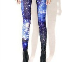 Women Green Galaxy/Space Tie Dye Digital print Tights Leggings Pants Blue