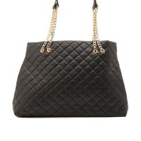 Chain Strap Quilted Tote Bag by Charlotte Russe