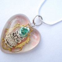 Owl Filigree Teal Rose Heart Resin Necklace