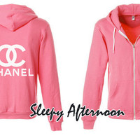 White Chanel - American Apparel Unisex Hoodie -  Neon Pink