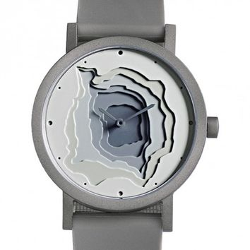 Projects Terra-Time 40MM Grey Stainless Steel Face & Silicone Band Unisex Watch