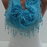 Blue Cotton Shawl / Scarf - Headband  Cowl with Lace Edge - Spring Trends