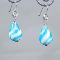 Turquoise Glass Earrings Blue Teardrop Swirl Lampwork Beads with Sterling Silver findings