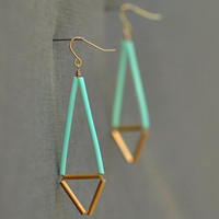 Mint Geometric Earrings - Pastel and Gold, Neon, Bright, Spring Dangle earrings