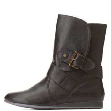 Qupid Belted Mid-Calf Boots by Charlotte Russe - Black