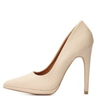 Python Textured Pointed Toe Pumps by Charlotte Russe - Nude