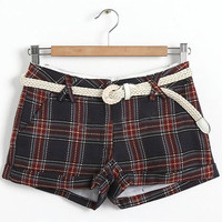 Blue Mid Drawstring Waist Plaid Shorts - Sheinside.com