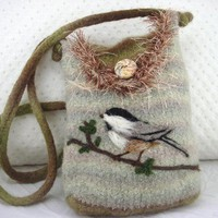 Chickadee felted purse