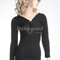 NWT Sexy Women Long Sleeve Cocktail Dress Black NEW Free Shipping!  - US$10.53