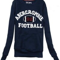Navy Blue Round-necked Cashmere Sweatshirt$38.00