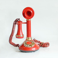 Vintage 70's Red Gold Candlestick Telephone by northstarvintage