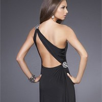Elegant Column One Shoulder Open Back Long Black Chiffon Prom Dress PD2007 Dresses UK