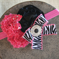 Hot Pink Stretch Headband with Satin Rosettes and Zebra Print
