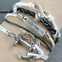 Anchor and Infinity bracelet, antique silver anchor bracelets and infinite hope bracelet, brown weave and white wax attachment bracelet