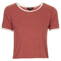 Contrast Trim Cropped Tee - Brick