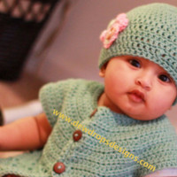 Baby Girl Set Crochet Jacket Sweater Hat with Flower Newborn Baby Toddler Photprop Dewdrops