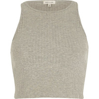 River Island Womens Grey ribbed racer crop top