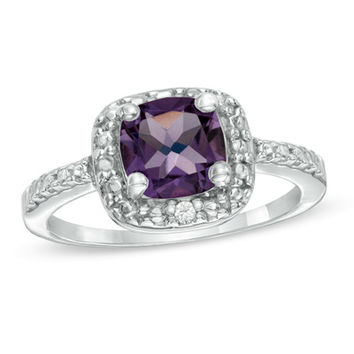 Princess-Cut Amethyst and Diamond Accent Frame Ring in Sterling Silver