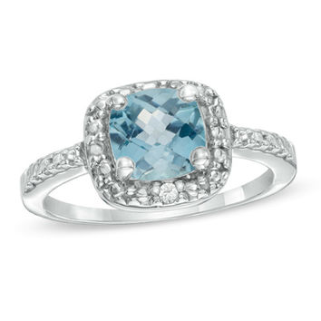 7.0mm Princess-Cut Sky Blue Topaz and Diamond Accent Frame Ring in Sterling Silver
