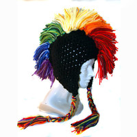 Mohawk Black Rainbow Ear Flap Hat