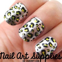 Silver and Yellow Animal Leopard Print Graphic Nail Art Decal from nailartsupplies