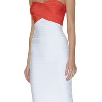Herve Leger Color Blocked Strapless Dress