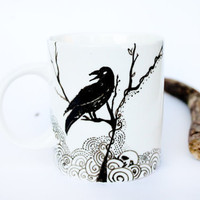 The Raven - handpainted ceramic mug