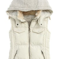 Easy Winter Fashion Women's Fur Hood Cotton Splicing Thick Warm Coat Jacket Vest