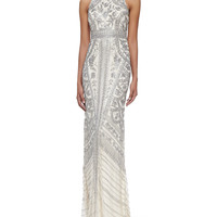 Women's Sleeveless Beaded-Pattern Gown - Theia by Don O'Neill - Silver blonde (10)