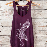 Ghost Banjo - womens tri-blend tank - in Cranberry - by Bark Decor