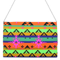 Aztec Print Neon Chain Clutch Bag  - Goods - Retro, Indie and Unique Fashion