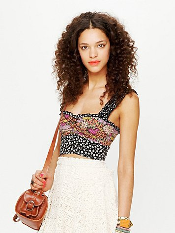 Free People Mixed Print Ruffle Crop Top