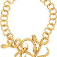 Yves Saint Laurent | Gold-plated jade serpent necklace | NET-A-PORTER.COM