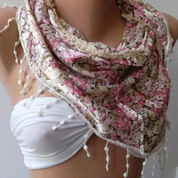 Georgeus  Scarf  ...Pink ....Flowered ....Soft and light.