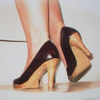 Brown Faux Snakeskin Heels Blank Greeting Card