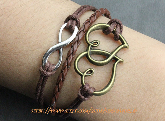 jewelry bracelet My heart will go on bracelet antique bronze heart to heart bracelet infinity wish bracelet  karma bracelet -N622