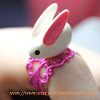 cute little rabbit ring adjustable ring-N006